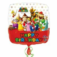 45.7cm Super Mario Bros Wii Children's Happy Birthday Party Square Foil Balloon
