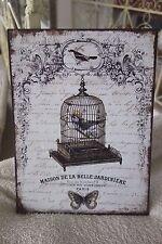 Shabby Blechschild Wandbild Bild Vogelkäfig Maison De La Belle Jardiniere 33x25c
