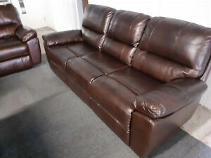 Charly brown leather 3 seater sofa. Ex ScS Stock