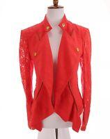INC International Concept Sz L Women Draped Linen Lace Waterfall Jacket Red Moto