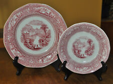Antique Ironstone Transferware Plate & Saucer Goodfellow Allegheny Staffordshire