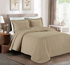 "3-piece Super Soft Oversized 118""x106"" Plaid Bedspread Coverlet King Set, Khaki"