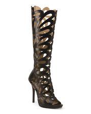 ELIANA BUCCI Black CutOut Cage Leather Greek Goddess Dominatrix Boots 39 8.5 New