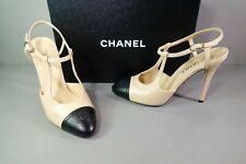 baed04db76 CHANEL 39.5 Beige Lambskin Black CC Cap Toe Slingbacks PUMPS HEELS Shoes
