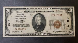 Central Bank of Peoria Illinois 20.00 Charter 3214 Twenty Dollars