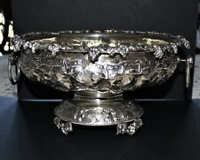 Greek Sterling Silver Large Footed Bowl Semi-Antique.  Substantial!