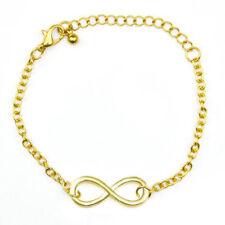 Infinity Symbol Freindship Chain Bracelet Women Lady Sterling 8 Shape -Gold Gift