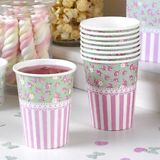 8 Frills & Spills Paper Cups Pink & Green Vintage Wedding Afternoon Tea Party