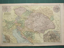 1900 LARGE VICTORIAN MAP ~ AUSTRIA-HUNGARY VIENNA BOSNIA BOHEMIA BUDAPEST TRIEST