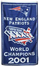 New England Patriots 2001 world Champions  flag 3x5ft  banner US Shipper