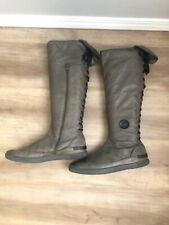 Rare Pataugas Leather Lace Up Knee High Zip Boots Size 9 US 40 Euro EUC