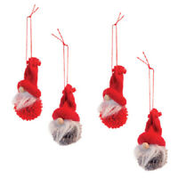 New Set of 4 POM POM GNOME CHRISTMAS TREE ORNAMENTS Hanging Elf Ornament 4""