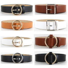 Women Lady Gold Silver Round Square Buckle Belt Leather Jeans Dress Waist Band
