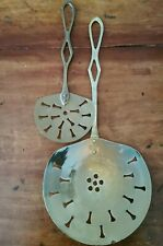 """Two Brass Strainer Spoons Large 19"""" & 13"""" Long (D5)"""