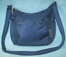 "TRAVELON Navy Blue Crossbody Bag; Media & Travel Compartments Anti-Theft 13 1/2"""