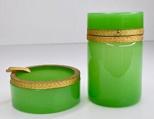 Murano Vintage Mid-Century Jadeite Green Opaline Cigarette Holder & Ashtray Set