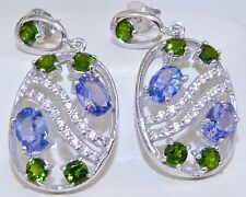 GENUINE RARE!! 4.12tcw!! Tanzanite & Chrome Diopside Stud Earrings, Silver 925!.