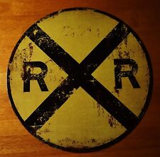 Vintage Style Rustic Railroad Crossing Sign Model Train Engine Room Decor NEW