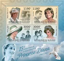 DIANA PRINCESS OF WALES Memorial (William & Harry) Stamp Sheet (2012 Burundi)