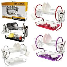 2 TIER HIGH QUALITY DISH DRAINER - DISH RACK WITH DRIP TRAY AND  CUTLERY HOLDER