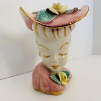 """VINTAGE PINK/GOLD LADY HEAD VASE UNMARKED 4.5"""" TALL HAT / FLOWERS UNMARKED EXCLN"""