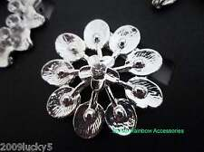 Silver & Gold Colour Crystal Scarf Clip Pin Ring Brooch Flower Heart Round Ring