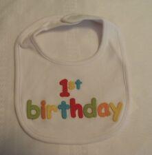 GYMBOREE Baby Boys Girls 1ST Birthday Bib NWT Factory bag White