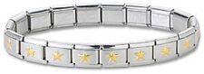 STAR Wholesale Lot 24 Italian Charm Bracelets Stainless Steel Gold Plated Links