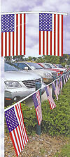 "American Flag Pennant String 50', Super Strong Dura-Knit Cloth Flags, 12""x18"" ea"