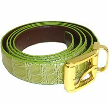 New Leatherette Men's Belt adjustable strap length sage green croco print