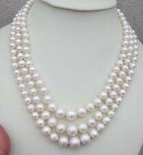 "Triple strands AAA 7-12MM south sea white pearl necklace 17-19"" 14K Gold Clasp"