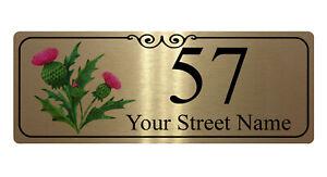 140 Personalised Address & Number Thistle Metal Aluminium Sign Plaque Door House