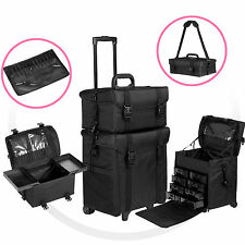 2 in 1 Makeup Cosmetic Case Beauty Trolley Artist Rolling Bag Storage Organizer