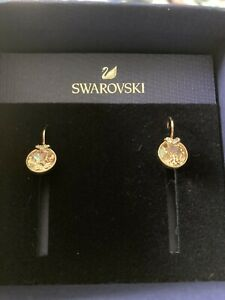 Swarovski Bella V Rose Gold Tone Plated Round Pink Earrings New In Box