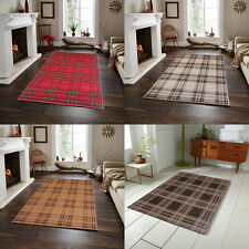 Modern Tartan Check Design Red Cream Beige Brown Rug in Various size Carpet