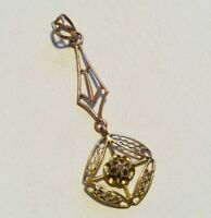 10k Gold and Diamond Lavalier pendant. Antique Victorian jewelry.