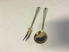 Vtg David Andersen Norway Sterling Silver Gilt Wash Enamel Cocktail Fork & Spoon