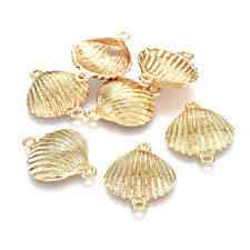 5pcs Alloy Shell Conch Charm Connectors Gold Plated 1/1 Loop Textured Links 24mm