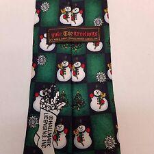 X-MAS Tie Snowman Snow Flake Christmas Tree Green and Black Yule Tie Greetings