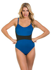 Magicsuit MIRACLESUIT SWIMSUIT 14 $170 Blue Black Serena Cut Out Tummy Control