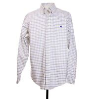 Brooks Brothers Slim Fit Mens L White Check Supima Cotton Button Front LS Shirt