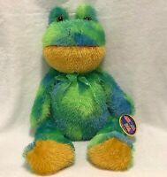 "Bright Eyed KellyToy Green Yellow Frog 26"" Plush Stuffed Animal Toy Soft NWT"
