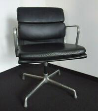VITRA Soft Pad Alu Chair EA 208  Design Charles u. Ray Eames - Leder schwarz
