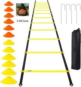 Training Equipment 7.5m Ladder 13 Rungs + 50 Cones + 4 Rungs + Bag Sport Set