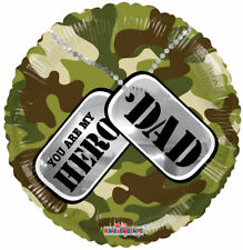 "18"" FOIL BALLOON BIRTHDAY DAD YOU ARE MY HERO FATHERS DAY CAMO ARMY  - uk seller"