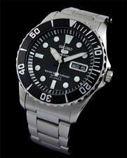 NEW MEN'S 100M SEIKO 5 SPORTS BLACK DIAL SEA URCHIN AUTOMATIC WATCH SNZF17K1