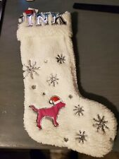 New Victoria Secret PINK Christmas Bling Sequins Holiday Logo Sherpa Stocking