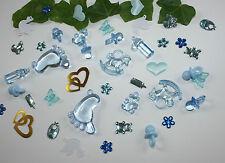 100 Stk. Deko  Taufe - Geburt - Streudeko  Tischdeko - Schnuller - blau Taufdeko