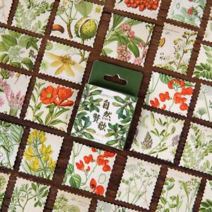 46 Vintage Flowers & Plants Botanical Stamps Mini Box Stickers - Journalling