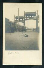 early RPPC postcard CHINA TIENTSIN PEKING Wagon Gates Dead Person? real photo RP